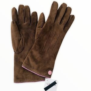 Coach Leather Suede Brown & Lavender Gloves
